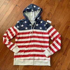 New OLD NAVY American Flag Hoodie Zip Sweatshirt S
